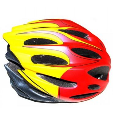 Шлем вело-роллерный PW-933-11 (red/yellow/carbn)